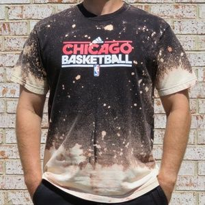 NBA Chicago Basketball Adidas Custom Bleach Tee XL